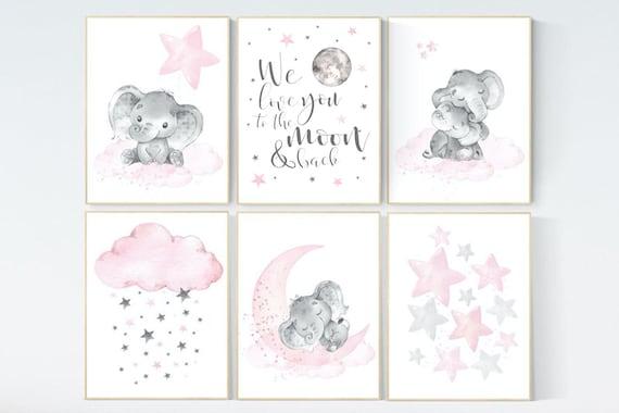 Nursery decor girl, nursery decor elephant, girl room wall art, baby nursery wall art, moon and stars nursery, nursery decor clouds stars