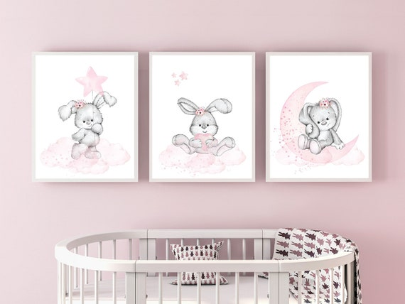 Nursery decor girl flower bunny, nursery wall art bunny, pink and gray, bunny print nursery girl, rabbit nursery art, rabbit print nursery