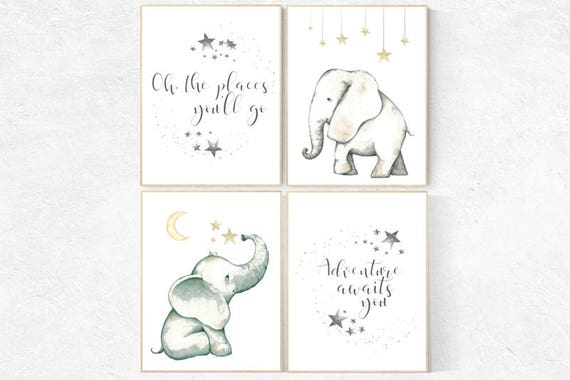 Elephant decor for nursery, Nursery decor neutral, oh the places you'll go, nursery prints elephant, elephant nursery, kids room, adventure