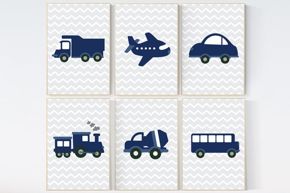 Nursery decor boy car, car nursery, vehicles, nursery prints boy, baby room decor boy, transportation decor, nursery travel theme