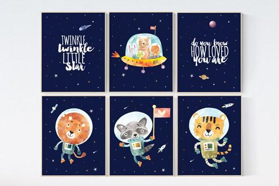 Nursery decor boy space, Space themed nursery, Space nursery prints, animal nursery, outer space nursery, space nursery art, animal nursery