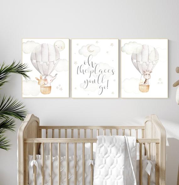 Nursery decor gender neutral, hot air balloon, elephant nursery, woodland animals, baby room decor, animal nursery, hot air balloons