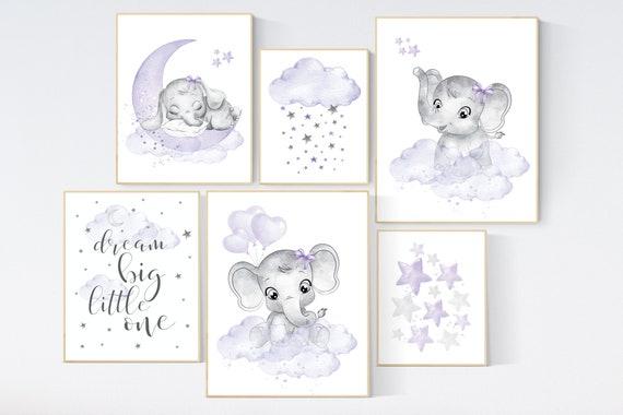 Nursery decor girl purple, nursery decor elephant girl, moon and stars, nursery prints girl, lavender, star nursery, lilac nursery decor,