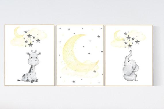 Nursery decor neutral, Yellow nursery, nursery wall art elephant, giraffe, moon, stars, gender neutral, yellow and gray nursery art