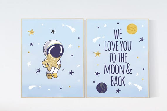 Outer space nursery wall art, we love you to the moon and back, navy space nursery decor, baby boy, moon print, playroom decor, kids room