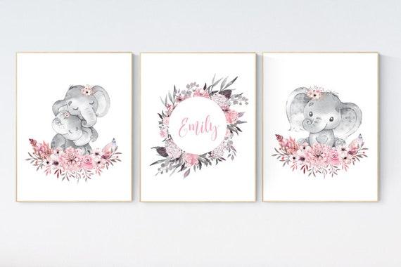 Nursery decor girl boho, elephant nursery wall art, nursery decor girl floral, nursery decor girl woodland, floral nursery, boho nursery