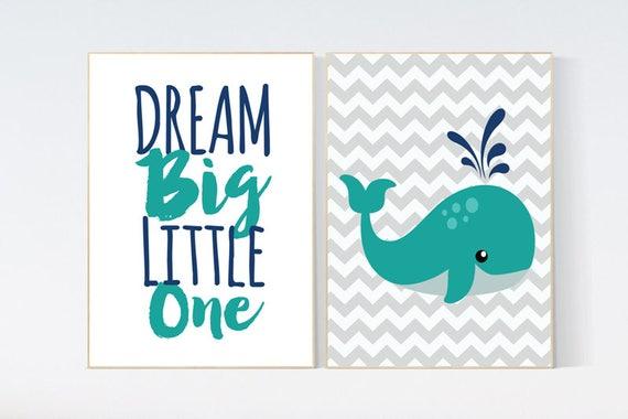 Nautical Nursery Wall Art, whale nursery, dream big little one, Navy Nursery Decor, Navy Nursery decor, teal navy nursery
