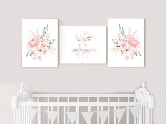 Nursery decor girl floral, nursery decor girl flowers, blush pink, nursery decor girl boho, floral nursery prints, nursery decor girl name