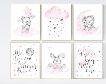 Nursery decor girl bunny, nursery decor girl pink gray, nursery decor girl animals, bunny nursery, rabbit nursery, pink and grey nursery