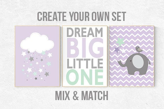 Lilac mint nursery, purple mint nursery, dream big little one, nursery decor girl, lavender mint nursery, purple mint nursery, cloud, star