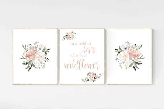 In a field of roses she is a wildflower, Nursery decor girl blush, nursery decor girl floral, blush nursery decor flower nursery,