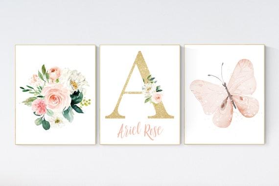 Nursery decor girl butterfly, peach, Butterfly Nursery Art, Girl Nursery Art, Butterfly Nursery Decor for Baby Girl, floral nursery