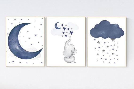 Navy nursery decor, moon and stars, navy blue nursery art. baby room wall art, boy nursery decor, set of 3, nursery prints boy, elephant art