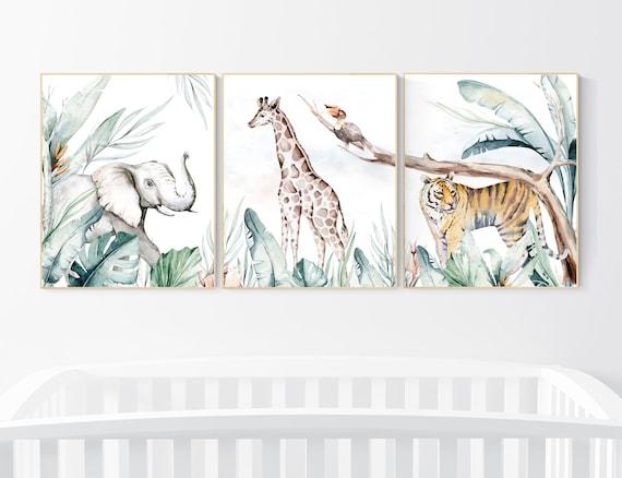 Nursery decor animals, animal prints, jungle animals, gender neutral, nursery wall decor, Woodland Nursery Wall Art, animal nursery art