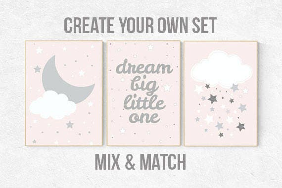 Pink nursery art, dream big little one, nursery decor, pale pink, pink gray, pink grey, moon nursery, baby girl nursery wall art, girls room