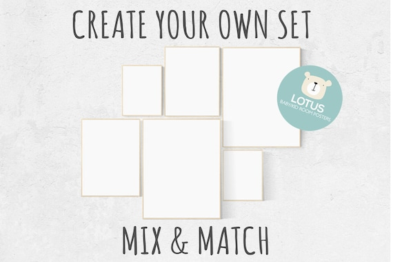 Create your own set, Mix and match! Custom nursery decor, Custom nursery art, set of 6 prints, nursery decor girl, nursery decor boy, prints