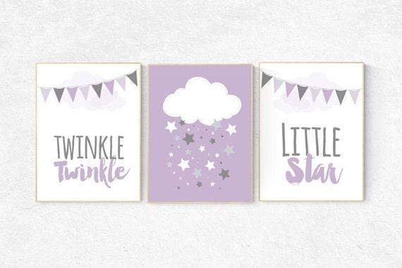 Nursery decor girl purple, Purple nursery decor, cloud nursery, twinkle twinkle little star, lilac nursery, lavender nursery, girls room
