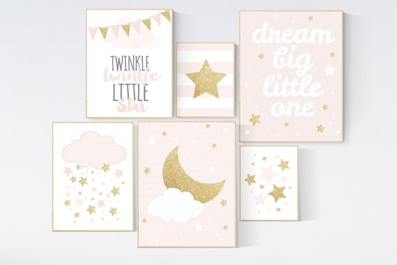 Nursery decor girl, blush pink,Nursery prints girl, blush Nursery decor, blush gold nursery wall art, blush pink, stars, moon, cloud
