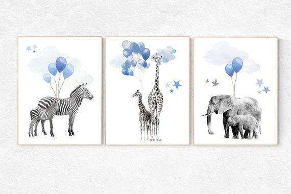 Navy blue wall art, Baby animal prints, Safari Nursery, watercolor animals for nursery, navy nursery, nursery decor elephant, animal nursery