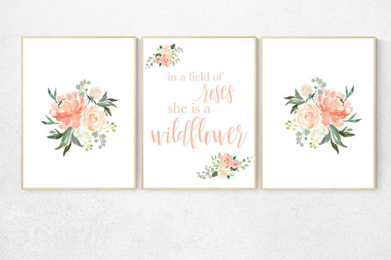 In a field of roses she is a wildflower, Nursery decor girl coral, nursery decor girl floral, pink roses peach nursery decor flower nursery