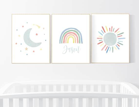 Nursery decor rainbow, neutral Rainbow Wall Art, rainbow Print Set, Cloud Rainbow Sun, Rainbow Wall Art, gender neutral, Watercolor Rainbow