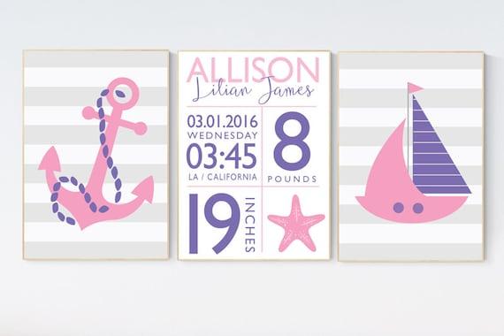 Nautical nursery decor, birth stats, Nautical decor nursery, set of 3 prints, pink purple, nursery nautical, nursery decor, baby room decor