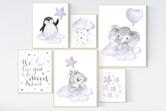 Nursery decor girl purple, nursery decor animals, bear, elephant, penguin, moon and stars, nursery prints girl, lavender, lilac, nursery art