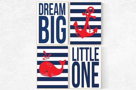 Nursery decor boy nautical, dream big little one, boys room decor, whale nursery, nautical nursery art, nautical nursery prints navy and red