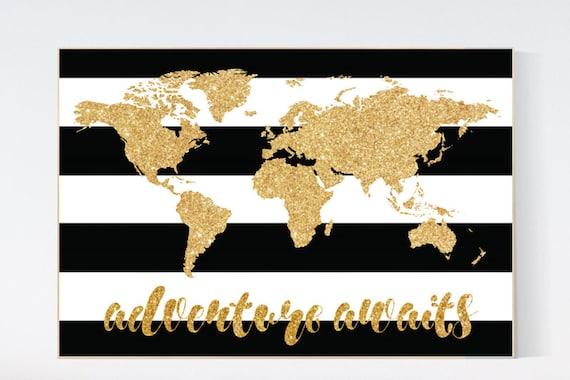 Black white gold decor, World Map, Adventure awaits, gold nursery decor, gold nursery, Nursery Prints, gold glitter, black and white nursery
