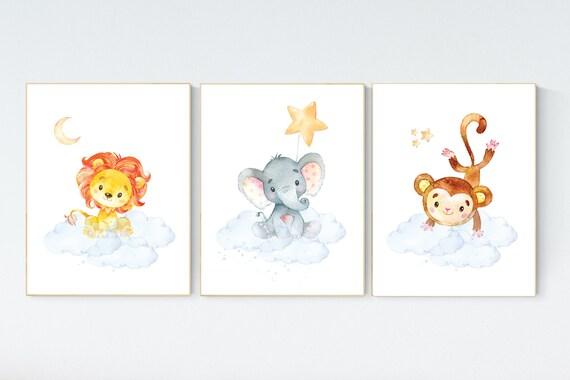 Nursery decor gender neutral, animal prints, lion, bear, koala, Nursery wall art gender neutral, jungle animal prints, forest animals