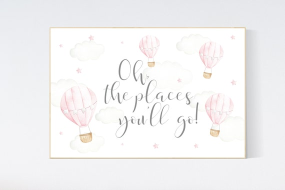 Hot air balloon nursery, Nursery decor girl, pink nursery, oh the places you'll go, nursery decor girl, animal nursery, woodland animals