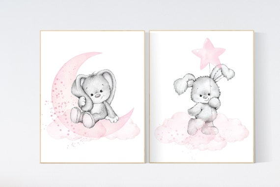Nursery decor girl bunny, bunny print set, pink and gray nursery, rabbit nursery decor, girl nursery, bunny art, Bunny print nursery