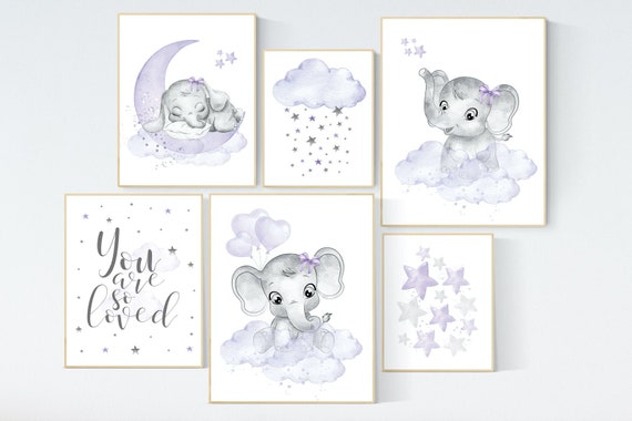 Canvas Listing: Nursery decor girl purple, nursery decor elephant girl, moon and stars, nursery prints girl, lavender, star nursery