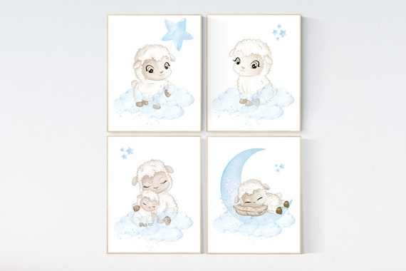 Sheep nursery decor, blue grey nursery, nursery decor lambs, nursery wall art sheep, moon and cloud wall art nursery, gray blue, nursery art