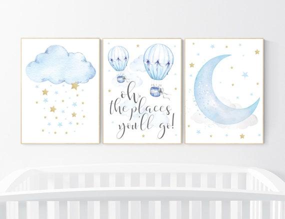 Nursery wall art boy, blue and gold nursery, blue nursery wall art, cloud and stars, baby room decor, hot air balloon, nursery wall decor