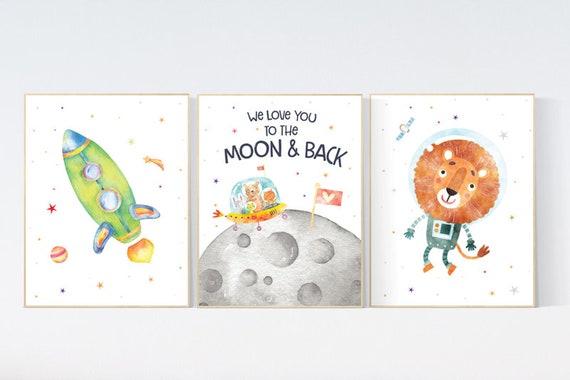Space Nursery Decor, Nursery decor boy space, space wall art nursery, Space wall art, animal prints, gender neutral, space nursery theme