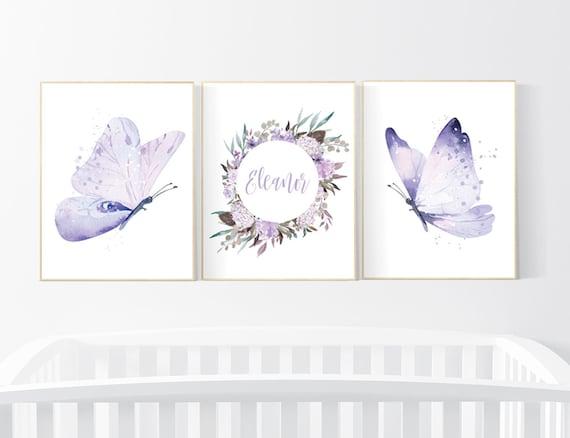 Nursery decor girl butterfly, nursery decor purple, nursery decor girl lilac, Butterfly Nursery Art, Girl Nursery Art, Butterfly Wall Art