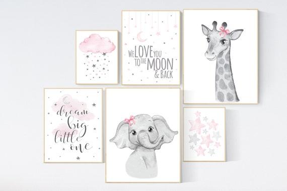 Nursery wall art girl animals, pink grey, elephant, giraffe, animal prints, nursery decor girl pink, moon and stars, girl nursery decor