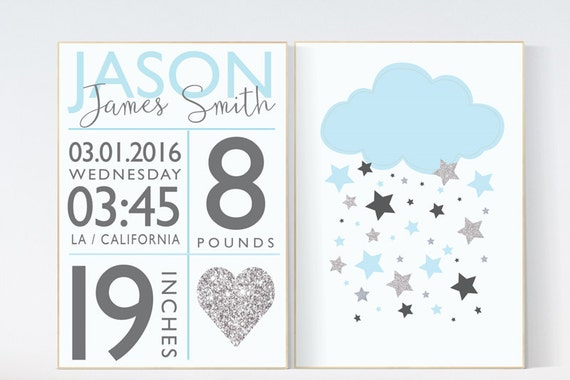 Baby boy nursery wall decor, blue nursery decor, cloud nursery, baby birth stats, blue and silver, new baby gifts