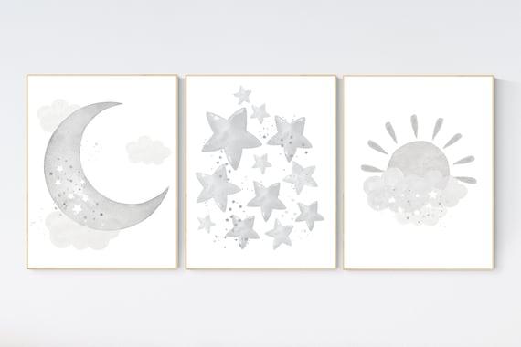 Nursery prints rainbow, Nursery decor gender neutral, nursery wall art neutral, gray nursery, moon star, cloud, nursery art, grey nursery