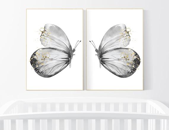 Nursery decor girl butterfly, gray nursery, black white, Butterfly Nursery Art, Butterfly Wall Decor, black and white, grey gold nursery