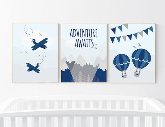 Nursery decor boy mountain, adventure nursery, nursery decor boy plane, world map, adventure awaits, mountain nursery, boy nursery ideas