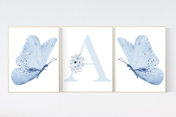 Nursery decor girl butterflies, Butterfly Nursery Art, Girl Nursery Art, Butterfly Nursery Decor for Baby Girl, Butterfly Art, blue nursery