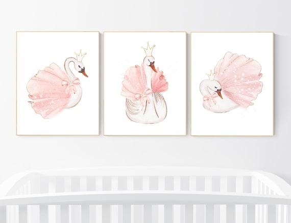 Wwan nursery wall art, Nursery decor girl blush pink, blush nursery, floral nursery, swan wall prints, flower nursery, swan nursery prints
