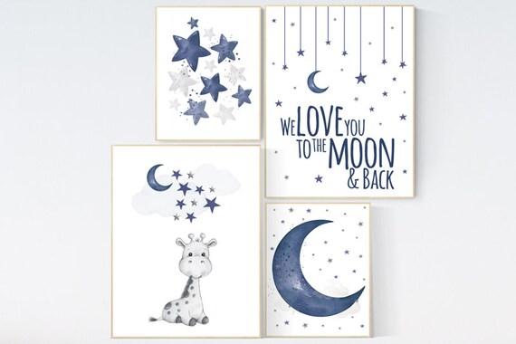 Nursery decor boy giraffe, boy nursery decor, moon and stars, navy nursery, boy nursery wall art, baby room wall art, animal prints nursery
