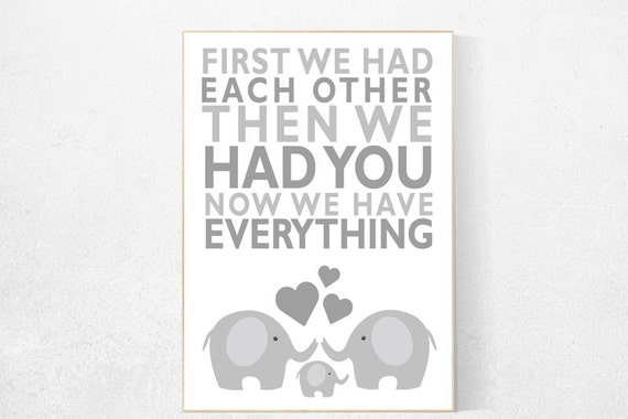 Gray nursery, First We Had Each Other,  gender neutral nursery, Elephant Nursery Art, Nursery Decor, Baby Nursery Prints grey nursery decor