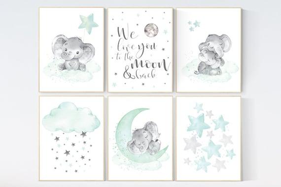 Nursery decor mint and grey, nursery wall art neutral, moon and stars, mint green, nursery elephant prints, nursery decor neutral, animals