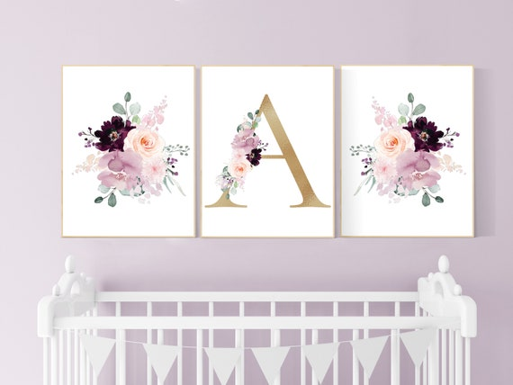 Nursery decor girl purple, mauve, Burgundy, floral nursery, flower nursery, butterfly, nursery prints girl, nursery wall decor girl, name