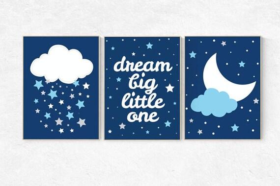Navy nursery, dream big little one, nursery decor boy, navy blue nursery wall art, cloud and star nursery, boys room decor, dream big