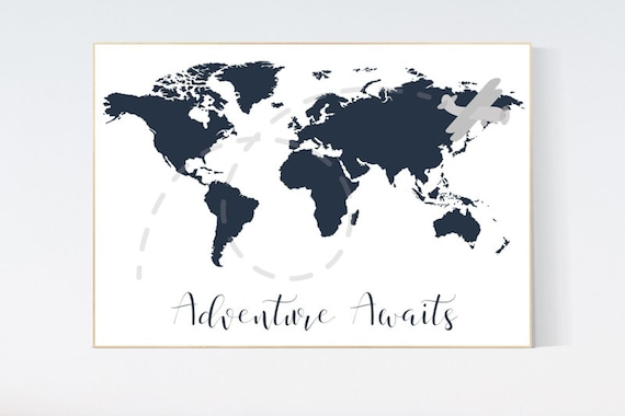 Nursery wall art map, adventure awaits, world map print, nursery decor boy mountains adventure, navy blue, plane nursery decor, navy gray